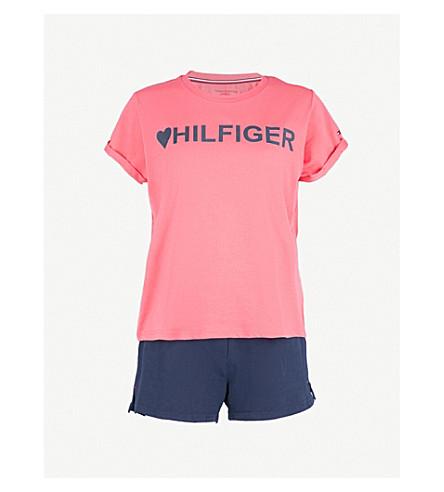 TOMMY HILFIGER Logo-print stretch-cotton pyjama set (R/berry+wine+navy+blazer