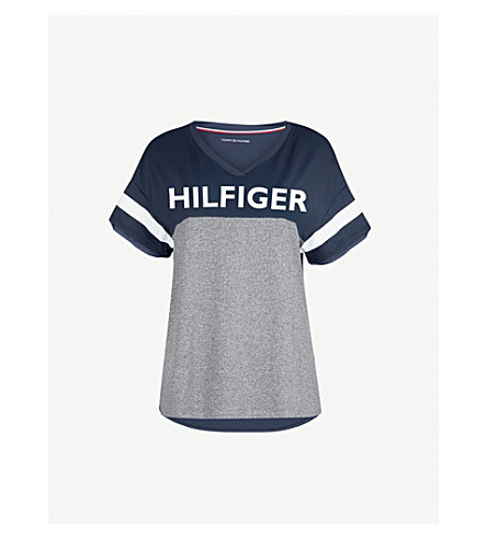 TOMMY HILFIGER Logo-print jersey T-shirt (Grey+heather
