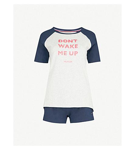 TOMMY HILFIGER Slogan-print stretch-cotton pyjama set (Grey+heather+navy+blazer