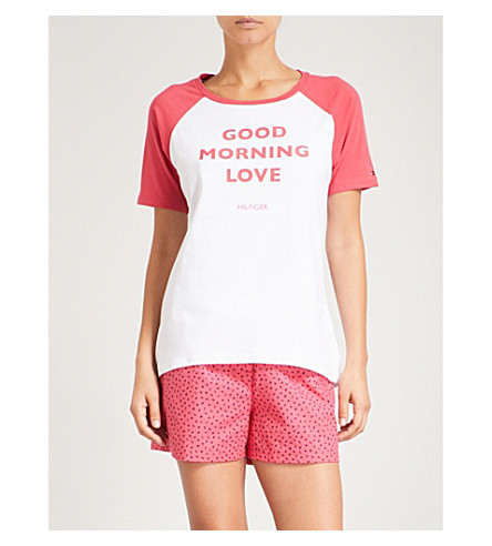TOMMY HILFIGER Slogan-print stretch-cotton pyjama T-shirt (White+raspberry+wine