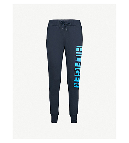 TOMMY HILFIGER Logo-print stretch-jersey jogging bottoms (Navy+blazer