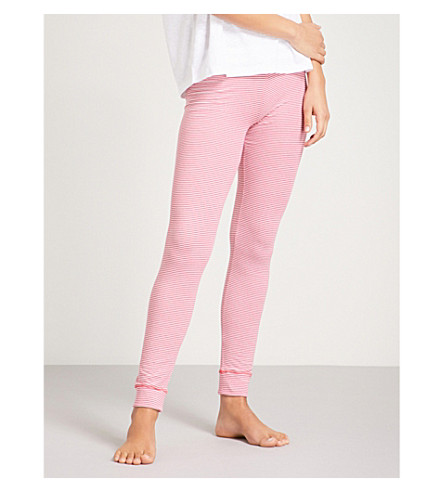 TOMMY HILFIGER Striped stretch-cotton pyjama bottoms (Raspberry+wine
