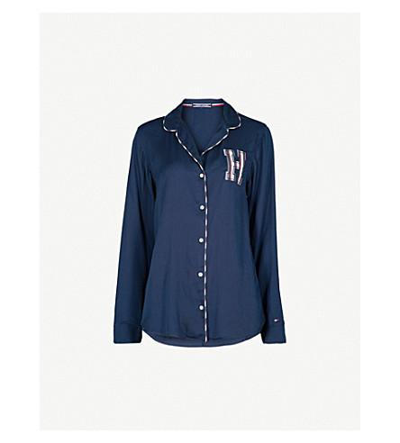 TOMMY HILFIGER Embroidered woven pyjama top (Navy+blazer