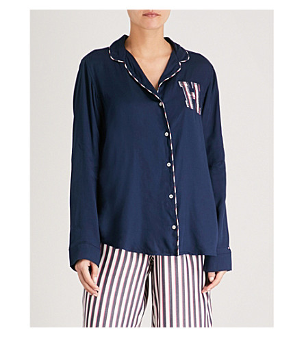 TOMMY HILFIGER Embroidered woven pyjama top (Navy+blazer