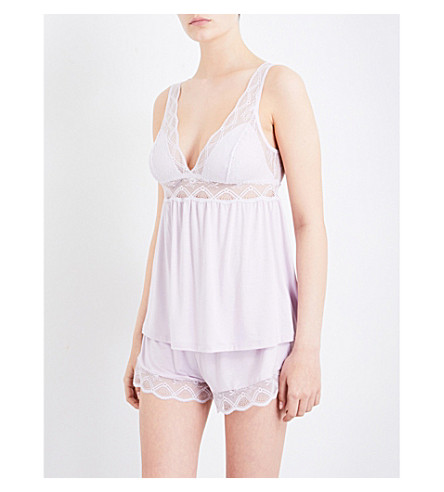 EBERJEY Georgina jersey and stretch-lace camisole (Fragrant+lilac