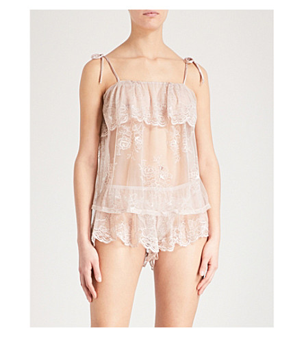 EBERJEY Aurora lace pyjama top (Fawn