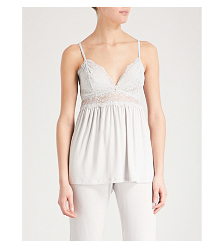 EBERJEY Talia stretch-jersey and lace pyjama top (Oyster+grey
