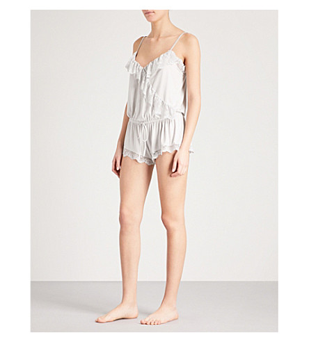 EBERJEY Talia ruffled stretch-jersey teddy (Oyster+grey