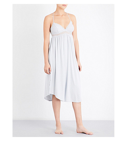 EBERJEY Elvia jersey and stretch-lace nightgown (Pearl+blue