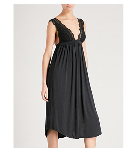 EBERJEY Ariza stretch-jersey and lace nightdress (Black