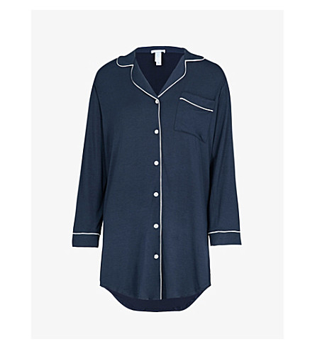 EBERJEY Gisele jersey sleep shirt (Navy/ivory