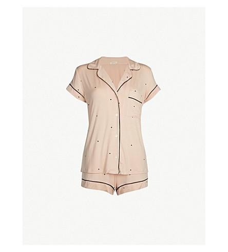 EBERJEY Dotted modal-blend pyjama set (Pink tint black
