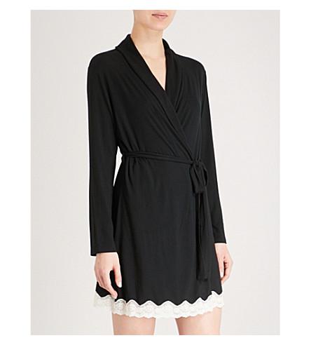 EBERJEY Lady Godiva classic robe (Black/off+white