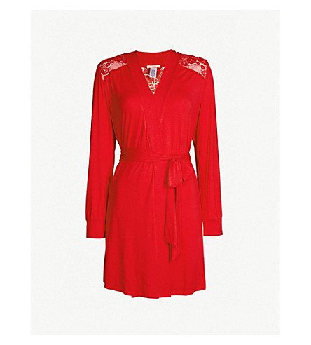 EBERJEY Noor jersey and lace robe (Racing red