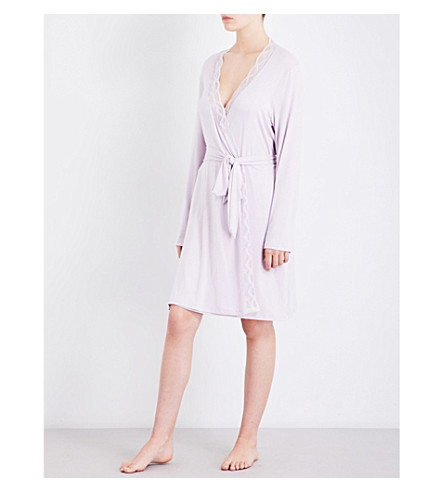 EBERJEY Georgina jersey and stretch-lace robe (Fragrant+lilac