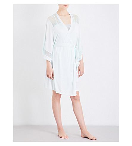EBERJEY Valeria jersey and stretch-lace robe (Light+mint/mint+splash