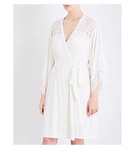 EBERJEY Marry Me jersey and stretch-lace robe (Ivory