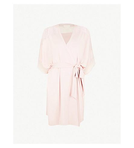 EBERJEY Greta jersey and mesh robe (Cashmere+rose