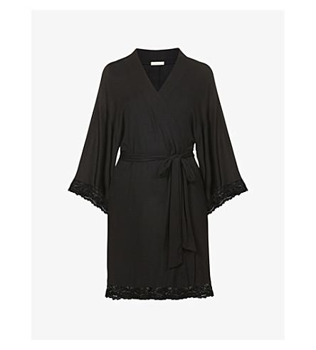 EBERJEY Colette lace-trim jersey robe (Black