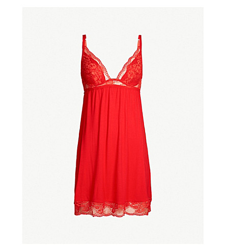 EBERJEY Noor jersey and stretch-lace chemise (Racing red