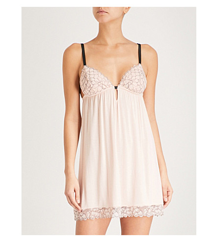 EBERJEY Rosario jersey and lace chemise (Pink+tint+black