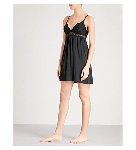 EBERJEY Ariza stretch-jersey and lace chemise (Black