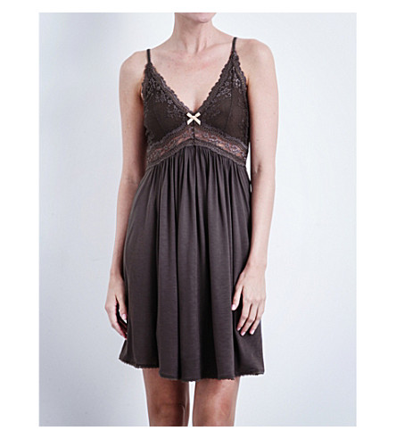 EBERJEY Colette jersey and lace chemise (Pebble