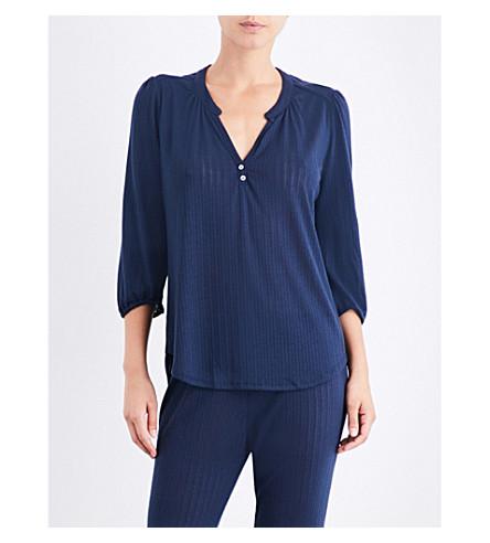 EBERJEY Baxter Peasant pointelle-knit pyjama top (Blue+nights