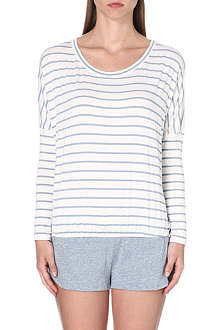 EBERJEY Stripe-detail jersey pyjama top