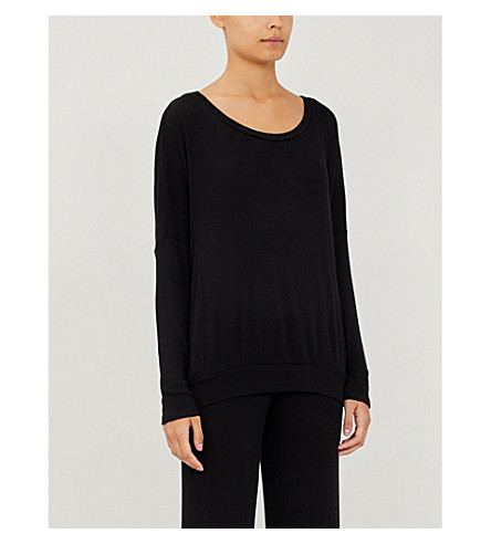 EBERJEY Elon ribbed-knit pyjama top (Black