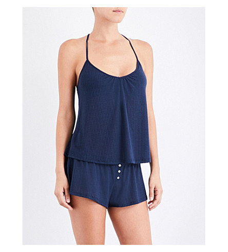 EBERJEY Baxter pointelle-knit pyjama shorts (Blue+nights