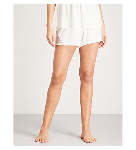 EBERJEY Greta jersey and lace pyjama shorts (Ivory