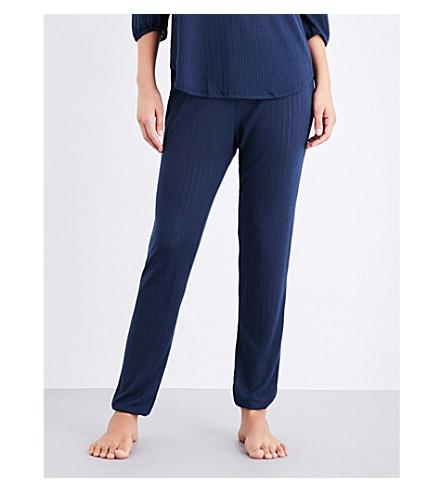 EBERJEY Baxter pointelle-knit pyjama bottoms (Blue+nights