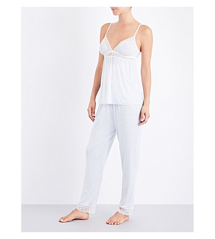 EBERJEY Mink Puff stretch-jersey pyjama bottoms (Pearl+blue+magnolia
