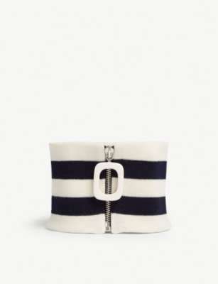 Cable Neckband in Nvy/Wht Str