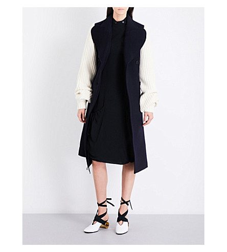 JW ANDERSON Double-breasted wool-blend and chunky-knit coat (Navy