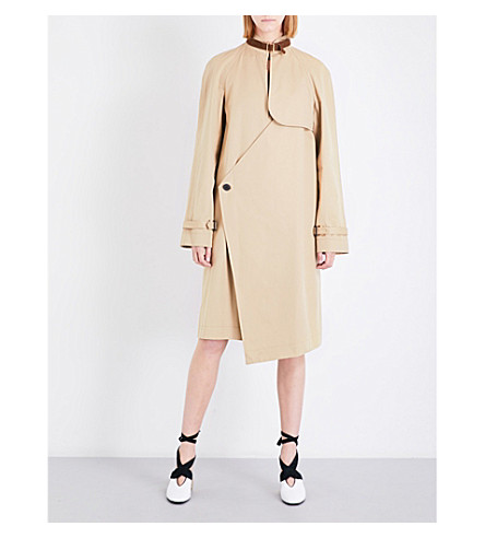 JW ANDERSON Asymmetric cotton-gabardine trench coat (Hemp