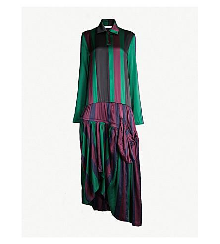 JW ANDERSON Drop-waist striped silk-satin midi dress (Black