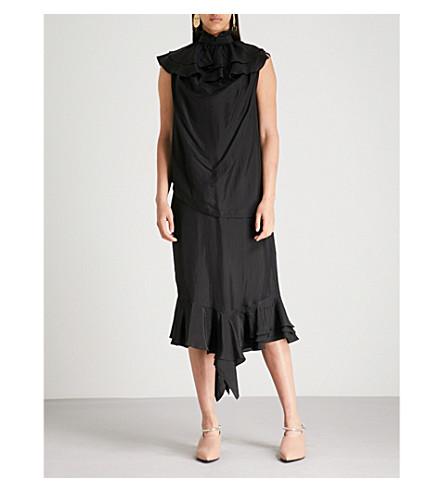 Ruffled silk ANDERSON Black JW JW ANDERSON midi dress Ruffled w1dqXXn