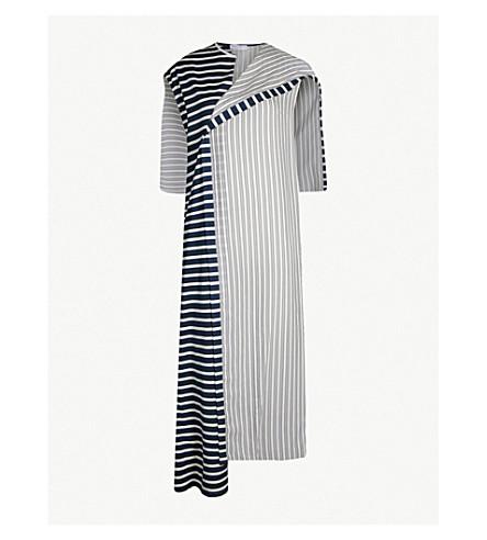 JW ANDERSON Asymmetric striped woven midi dress (Navy