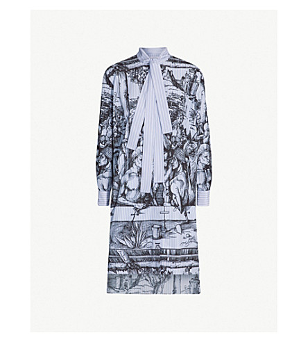 JW ANDERSON Illustration-print neck-tie cotton dress (China blue