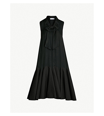 JW ANDERSON Bow-trim stretch-jersey and crepe shift dress (Black