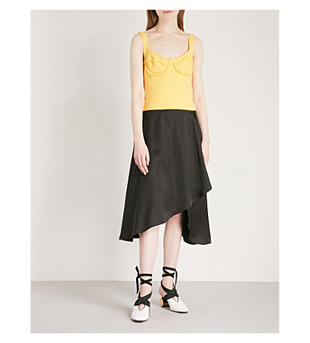 JW ANDERSON Asymmetric jersey and satin dress (Black