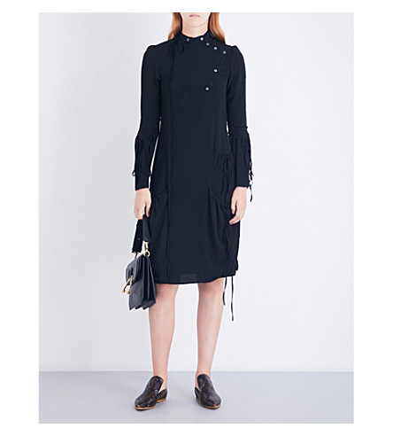 JW ANDERSON Drawstring-panel crepe dress (Black