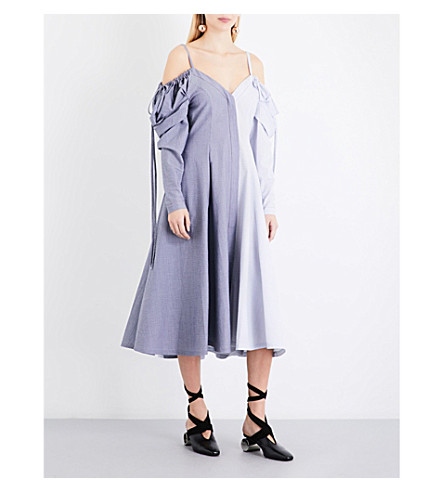 JW ANDERSON Patchwork cold shoulder cotton-chambray midi dress (Chambray