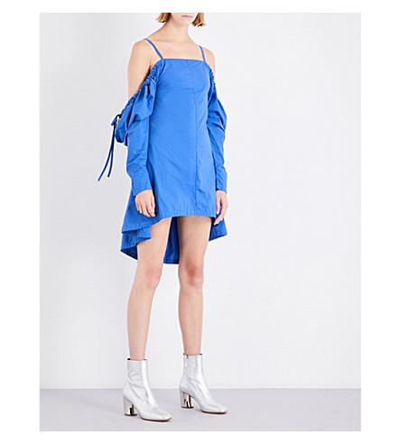 JW ANDERSON Cold-shoulder cotton dress (Cobalt