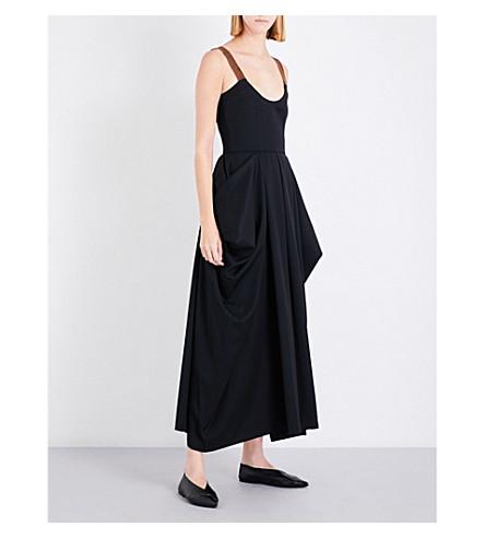 JW ANDERSON Draped wool-twill maxi dress (Black
