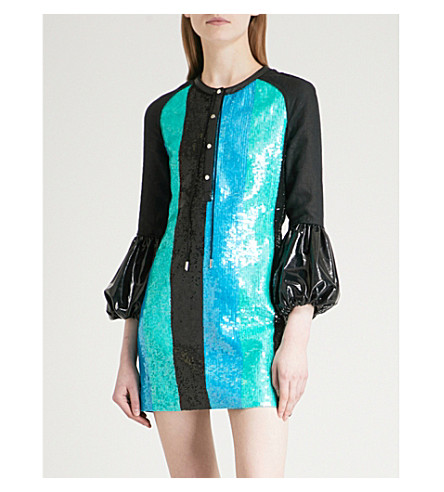 JW ANDERSON Sequinned puff-sleeve linen mini dress (Black