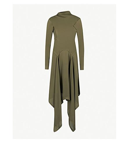 JW ANDERSON Asymmetric silk midi dress (Khaki