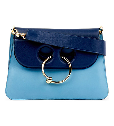 JW ANDERSON Pierce medium leather shoulder bag (Baby blue navy